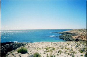A view from the resort at Bahía Bustamante, Chubut, Argentina