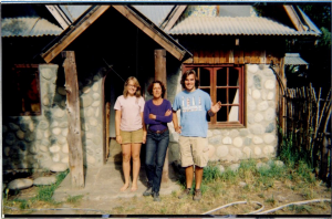 Ester, Peter (other WWOOF volunteer) and myself in front of La Casita in El Bolson, Argentina