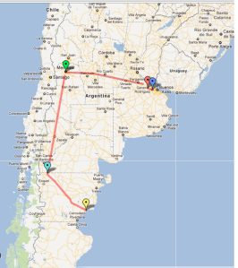 My WWOOFing Argentina trip route